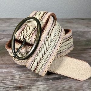 Accessories - Woven Leather Belt ivory blush pink pierced XL
